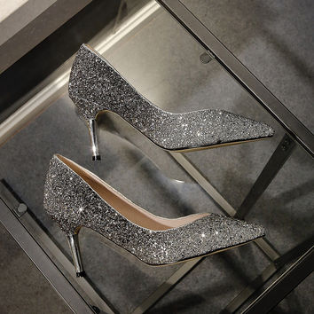 Nightclub shoes sexy women pumps thin high heels 2017 spring new sequins pointed toe office for ladies big plus size 10 size41