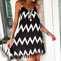 Summer new sexy women's dress wavy tassel strap dress