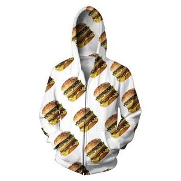 Big Mac Zip-Up Hoodie vibrant beach fast food cheeseburger rad cheese burger Zipper Sweatshirts Women Men Hooded Outfits Jumper