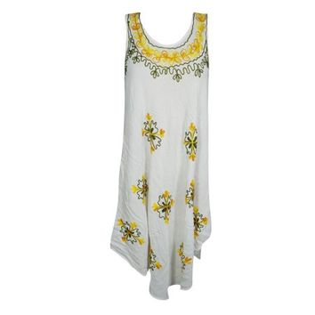 Mogul Womens Floral Tank Dress Rayon Loose Fit Flared Summer Sleeveless Beach Wear Embroidered Swing Casual Sundress - Walmart.com