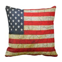 Vintage America flag on a cracked wall Cushion