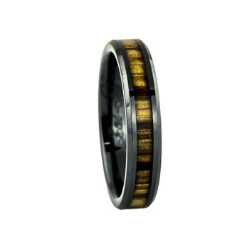Women's Black Ceramic ring with Zebra Wood inlay-4mm