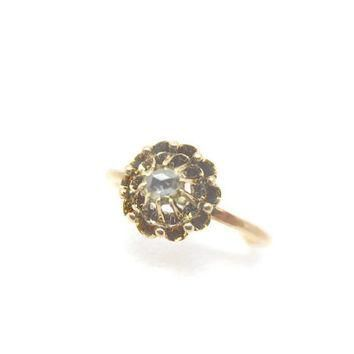 Diamond Ring - Rose Cut Ring, 14k Gold, Victorian Jewelry, Stick Pin Conversion, Fine