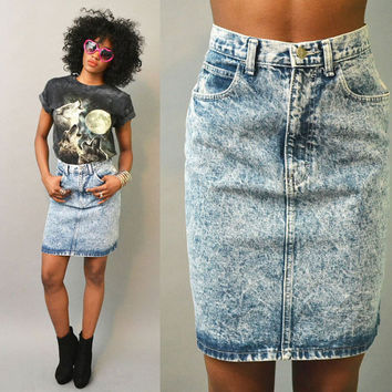 Acid Wash High Waist Jean Skirt