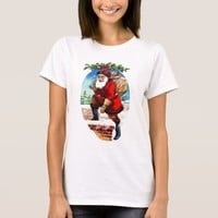 Vintage Christmas Santa Stepping Into Chimney T-Shirt
