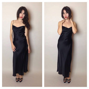 90's BLACK SATIN DRESS - maxi - low sexy back - slinky - side slit - small