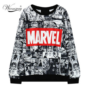 2016 Harajuku Comics Print Sweatshirt Women MARVEL Letter Loose Cartoon Moletom O-neck Lovers' Clothes Hoody Pullovers  WH-047