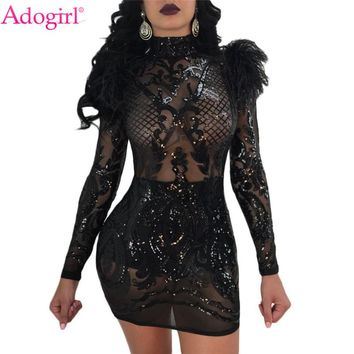 Adogirl 2018 New Feather Shoulder Sequins Club Dress Sheer Turtleneck Long Sleeve Bodycon Party Dress High Stretch Vestidos
