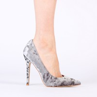 Josie Stiletto Heels in Champange Crushed Velvet