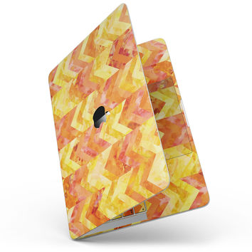Yellow and Orange Watercolor Chevron Pattern - MacBook Pro without Touch Bar Skin Kit