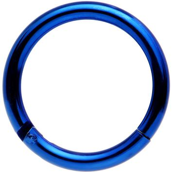 "14 Gauge 3/8"" Blue Anodized Hinged Segment Ring Circular Barbell"