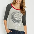 "baseball tee with ""not all those who wander are lost"" graphic"