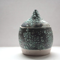 Small ceramic lidded vessel with a unique textured pattern