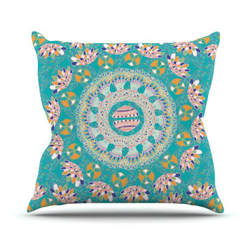 "Miranda Mol ""Luscious"" Blue Pink Outdoor Throw Pillow"