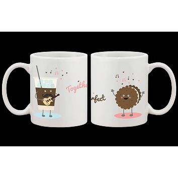 Ice Coffee Cookie Matching Couple Mugs- His and Hers Matching Coffee Cup