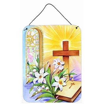 Easter Cross and Bible in Stain Glass Window Wall or Door Hanging Prints APH5433DS1216