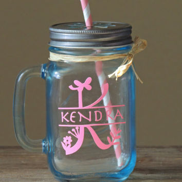 Monogrammed Blue Mason Mug, wedding party gift, mason jar, blue mason jar. mason jar set of 2