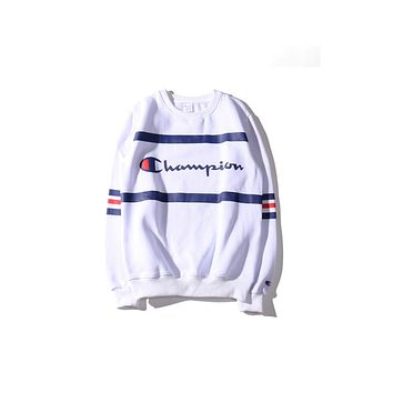 Champion new bar on the campus style lovers plus cashmere sweater  White
