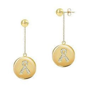 Diamond Breast Cancer Awareness Ribbon Disc Earrings : 14K Yellow Gold - 0.33 CT Diamonds
