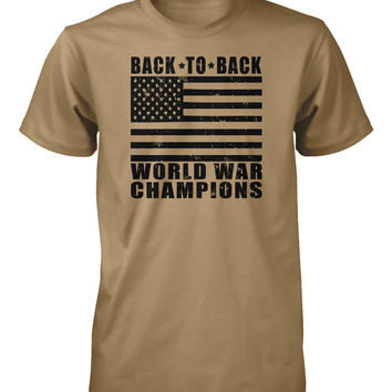 Army Shirt Back to Back World War Champions Funny Tee Mens T Shirt Guys Tshirt Boys T-Shirt Kids Short Sleeved Small Large XL 2XL 3XL 4XL