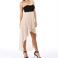 Pre-Order: Black/Taupe Hi Lo Homecoming Dress