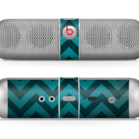 The Teal Gradient Layered Chevron Skin for the Beats by Dre Pill Bluetooth Speaker