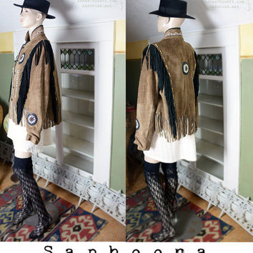 80's 60's 70's vibe boho leather suede fringe coat, Native American coat, beaded, mandala, slouchy, boho jacket, hippie, embroidered coat