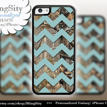 Monogram iPhone 5C 6 6 Plus Case Camo Blue Chevron iPhone 5s iPhone 4 case Ipod 4 5 case Real Tree Personalized Country Inspired Girl