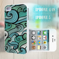 unique iphone case, i phone 4 4s 5 case,cool cute iphone4 iphone4s 5 case,stylish plastic rubber cases cover, green  floral geometric bp910