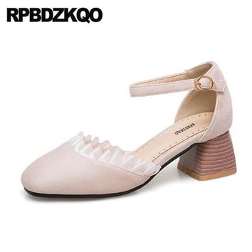 Beige 11 43 Sweet Lolita Shoes Plus Size Square Toe Suede 33 Medium Heels Pumps Korean 10 42 High Ladies Thick Ankle Strap Cute