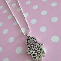 Antique Silver Buddha Hand Charm Necklace