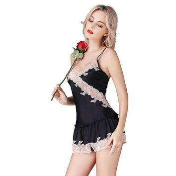 DCCKU62 100%  Silk Satin Women Pajamas Sets Lace Chemises Slip Sleepwear Pajama with Hot Short Lace Pants Sexy Clothes sp0016