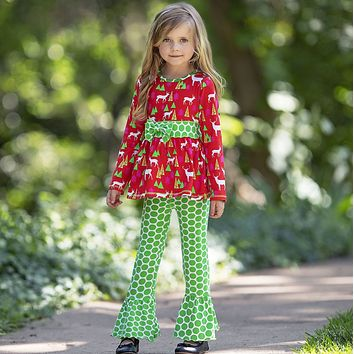 2018 Christmas Red & Green Deer Ruffle Pant Set