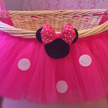 Large Hot Pink Minnie Mouse Theme Tutu Basket, Birthday Tutu Gift Basket, Baby Shower Basket,  Tutu Easter Basket, Newborn Photo Prop Basket