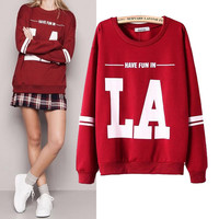 Letter Print Long Sleeve Pullovers Sweatshirt