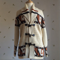1970's Knit Wool Cardigan / Wood Toggle Jacket / Aztec Sweater / Medium / 70s Vintage