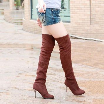 Women Boots High Heels Slim Shoes Fashion Autumn Winter Thigh High Boots Over the Knee
