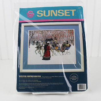 Winter Impressions Counted Cross Stitch Kit, Sunset Needle Kit, Victorian Needlepoint, K120