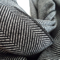 Black Herringbone Infinity Scarf, Men Women Scarf, Unisex Scarf, Infinity Scarves, Warm Scarf, Loop Scarf, Circle Scarf, Winter Fashion