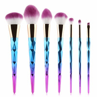 Metallic Rainbow Unicorn Makeup Brushes - 7 Piece Set