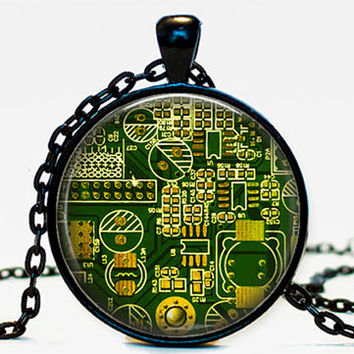 Computer Circuit board necklace pendant, circuit board, geeky jewelry,computer gift, gift for her him,green,pcb board, print circuit board