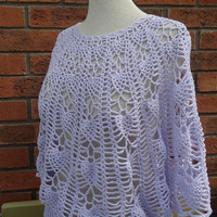 Crochet Women Lace Summer Top, Crochet Poncho with Sleeves/Capelet, Lavender Capelet, Handcrocheted Poncho, Stylish Capelet