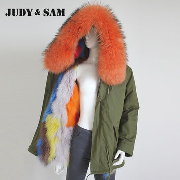 Colorful Real Fox Fur Lining Army Green Parka with Big Raccoon Fur Hood Trimming Ladies Winter Coat with Natural Fur Collar