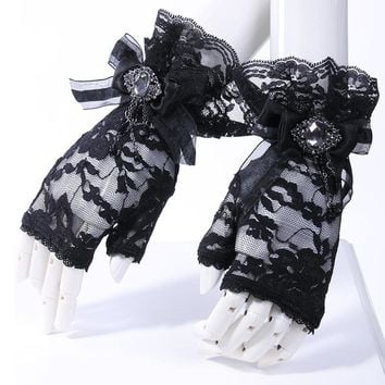 Steampunk Fashion Queen Sexy Lace Gloves with Floral Pattern Gothic Style Women Accessories Mittens Transparent Wrist Gloves