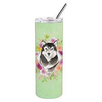 Alaskan Malamute Green Flowers Double Walled Stainless Steel 20 oz Skinny Tumbler CK4384TBL20
