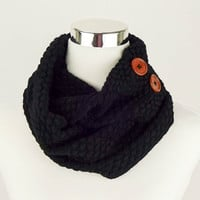 Knit Scarf Black Scarf Knit Infinity Scarf Black Knitted Scarf Black Crochet Scarf Sale Gifts under 20 Gifts for Her Cute Scarf Loop Circle