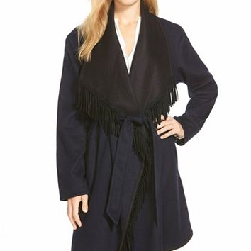 Women's Sofia Cashmere Reversible Wool Blend Wrap Coat with Fringe,
