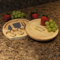 BRIE Couples Monogram Special - Personalized Cheese Board Tool Set with Personalized Tool Handle Option