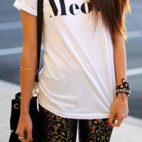 Meow White Crew Neck T-shirt and Tank Top. Small to X-Large.