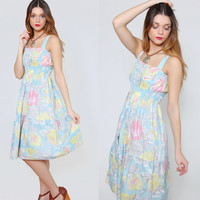 Vintage 80s PASTEL Sundress Sleeveless Midi Dress Blue FLORAL Tube Dress Summer Sun Dress